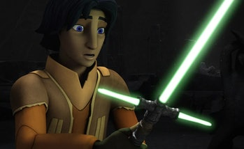 Ezra with a cross-guard lightsaber in 'Rebels'