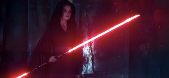 Rey's double-bladed red lightsaber