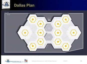 UberAir's plan for Vertiports includes a design for hexagonal flight pads in Dallas and Dubai.