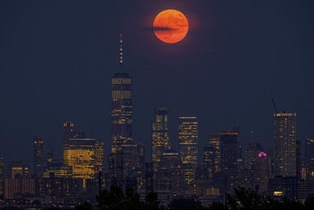 The full moon over downtown Manhattan last night CREDIT: AP-PTI