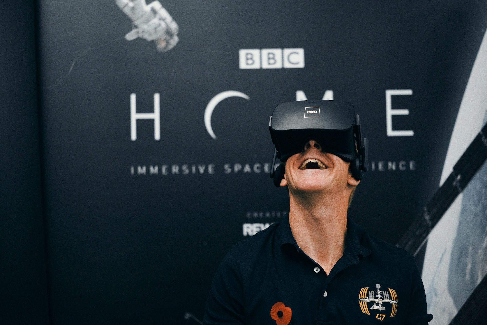 Tim Peake tries the BBC's new spacewalk VR film.