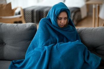 cold, woman, home, blanket