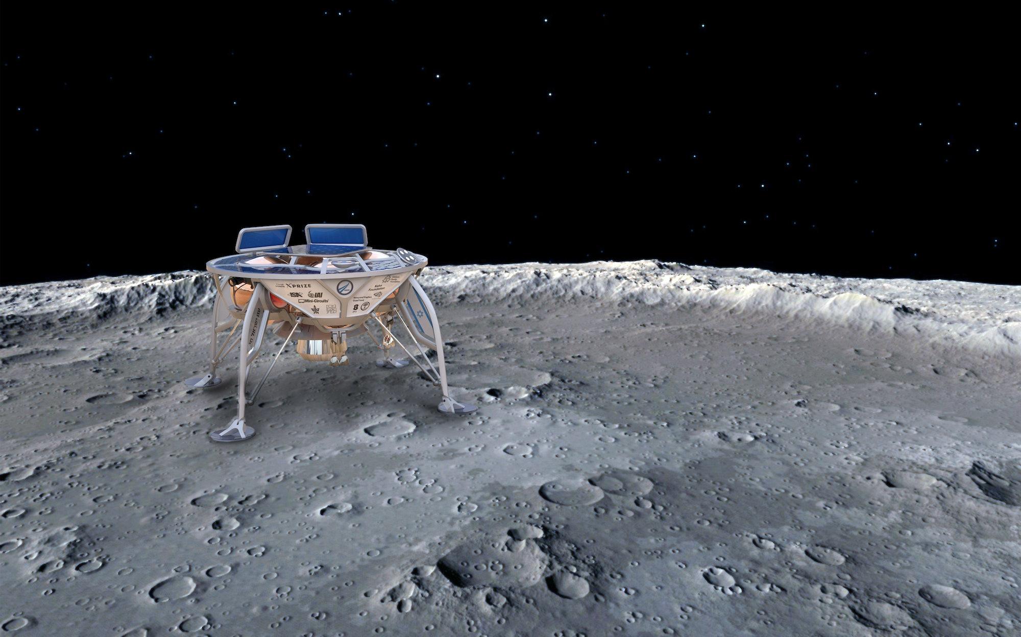 Artist's concept of Beresheet on the lunar surface.