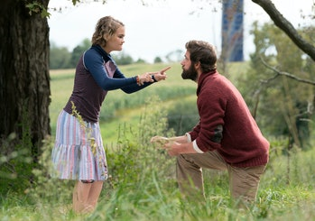 Regan Abbott argues with her father midway through 'A Quiet Place'.