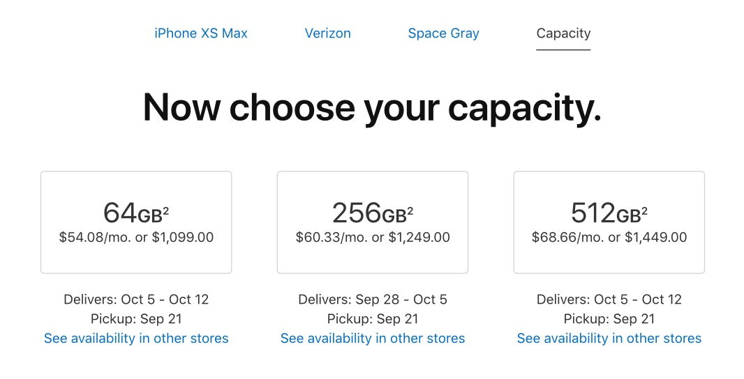 iPhone XS Max delivery estimates.