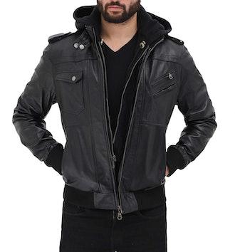 Black Bomber Leather Jacket Men