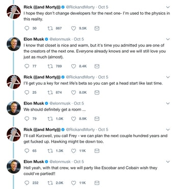 The conversation between the show and Musk.