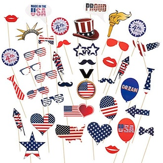 40 Pcs 4th of July Photo Booth Props