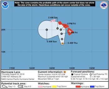 Hurricane Lane's current trajectory towards Hawaii.