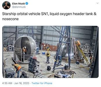 elon musk tweet starship