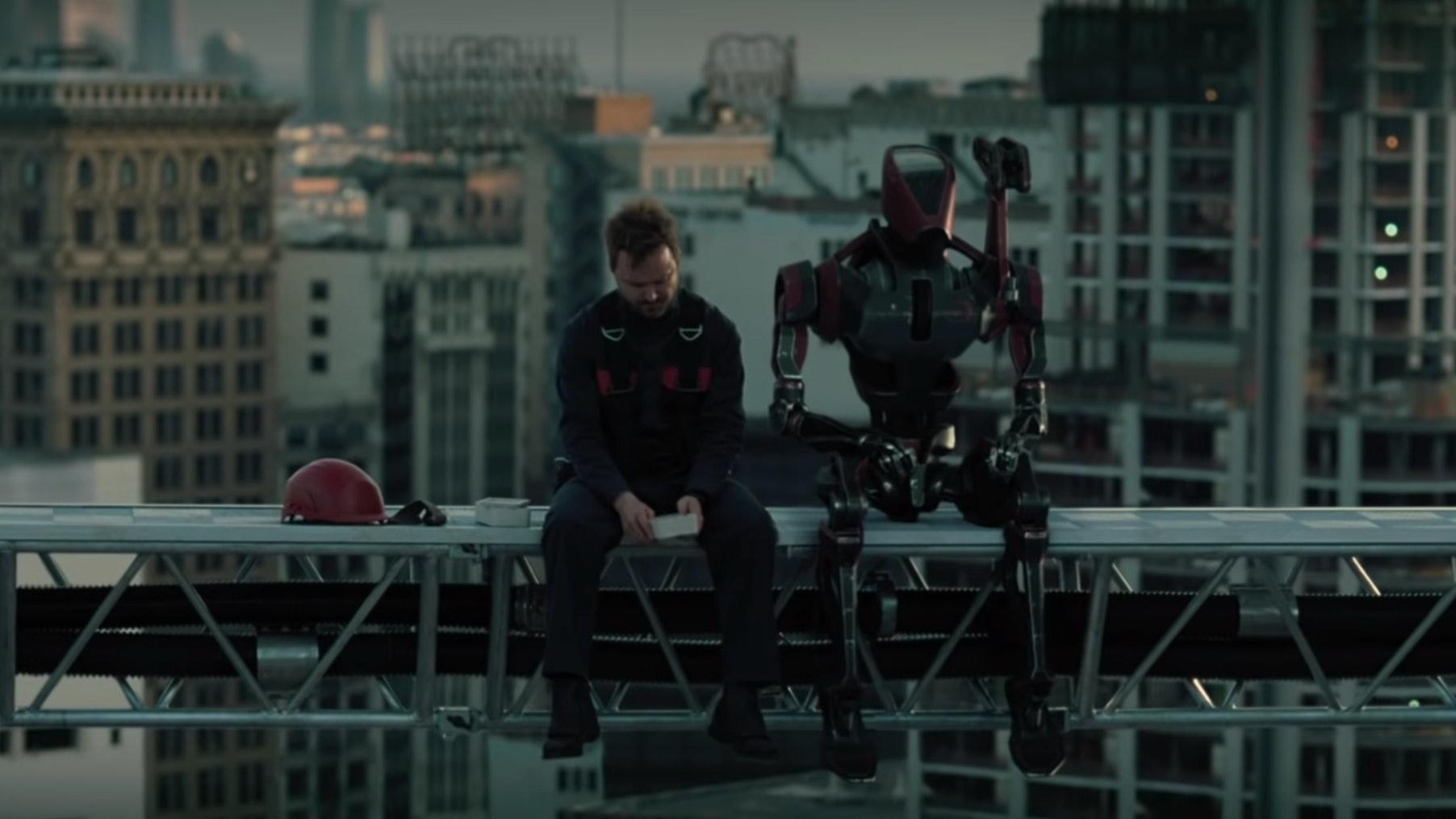 Aaron Paul and robot in Westworld III