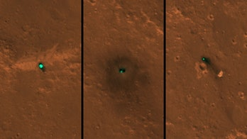 From left to right: The InSight spacecraft, its heat shield, and its parachute, as photographed on December 6 and 11 by the HiRISE camera onboard NASA's Mars Reconnaissance Orbiter.