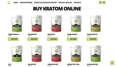 The website for a kratom vendor.