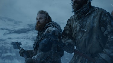 With pieces of dragonglass affixed to wooden handles,Tormund Giantsbane (left) andSandor Clegane prepare for battle.