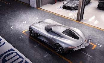 Jaguar's Vision GT Coupé, parked.