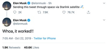 Musk's tweet flies through the air.
