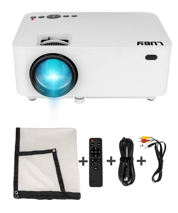 Luby Portable Mini Movie Projector with Free Projector Screen Perfect for Kids Fun Neighborhood Gath...