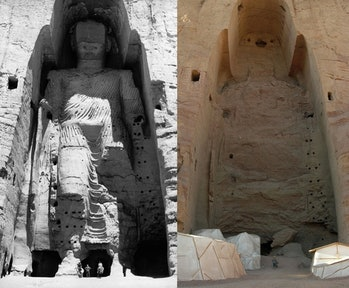 The taller Buddha of Bamiyan before (left) and after (right) destruction.