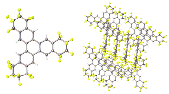 Solving a set of diffraction patterns produces an atomic-level picture of a crystal, showing individual molecules (left) and how they pack together to form a crystalline structure.