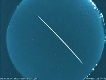 Quadrantid meteor recorded by a camera at the Marshall Space Flight Center.