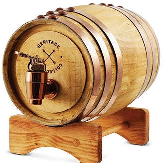REFINERY AND CO Miniature Wood Whiskey Barrel Dispenser