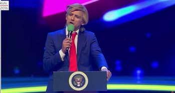 An unfunny portrayal of Trump in Russia.