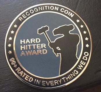 The Hard Hitter Award Challenge Coin.