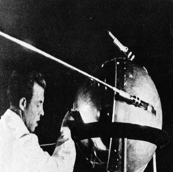 This first official picture of the Soviet satellite Sputnik I was issued in Moscow Oct. 9, 1957. The...