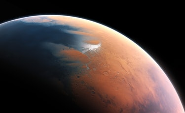 Artist impression of a wet Mars from four billion years ago, which shows how Elon Musk's plan to nuke Mars could transform its landscape.