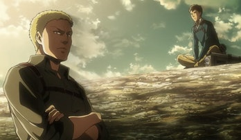 Reiner and Bertholdt hold a maimed Ymir and Eren hostage.