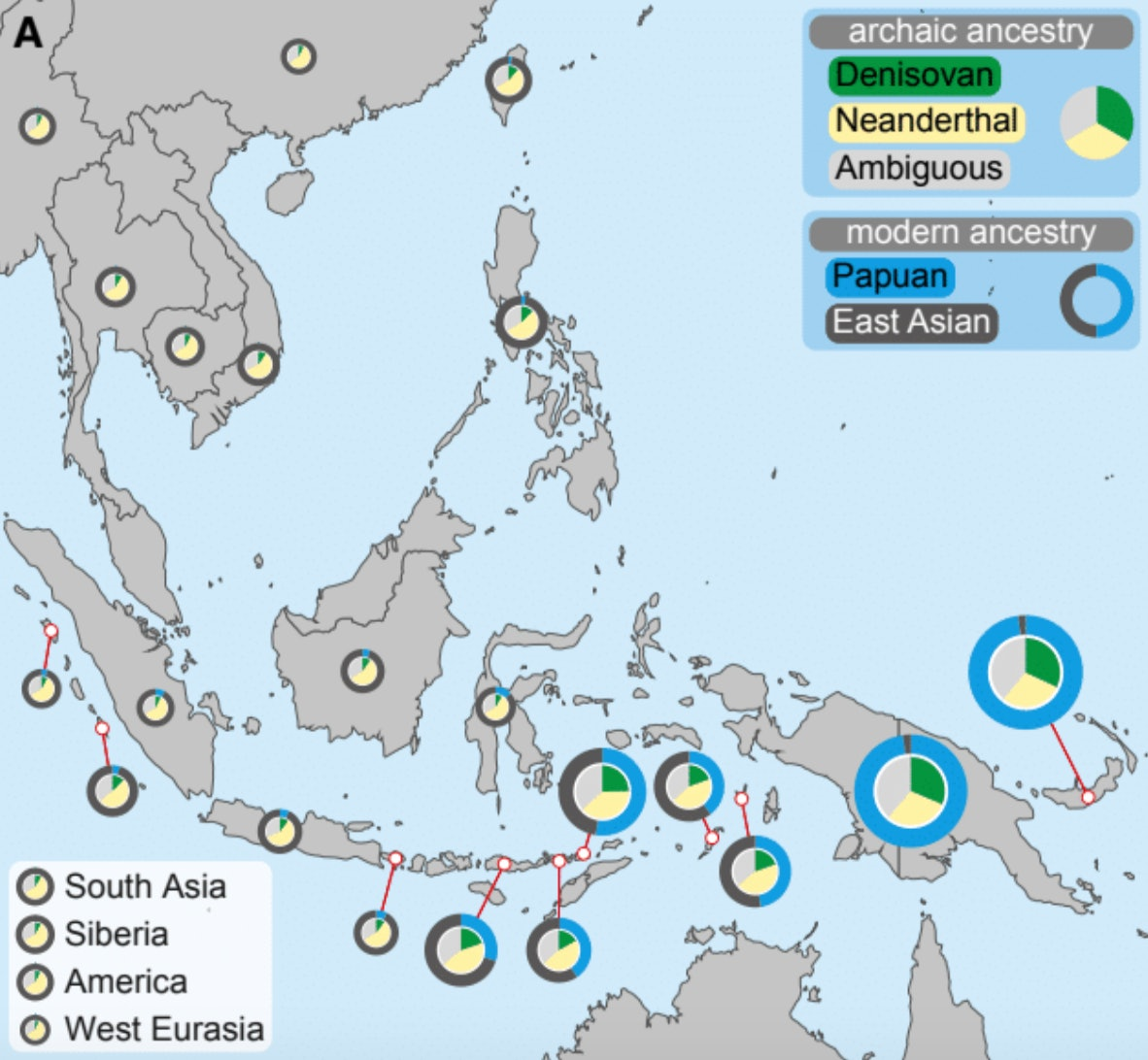 The sampling locations of the groups of living people involved in this study.
