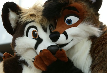 BERLIN, GERMANY - AUGUST 21: Furry enthusiasts attend the Eurofurence 2015 conference on August 21, 2015 in Berlin, Germany. Furry fandom, a term used in zines as early as 1983 and also known as furrydom, furridom, fur fandom or furdom, refers to a subculture whose followers express an interest in anthropomorphic, or half-human, half-animal, creatures in literature, cartoons, pop culture, or other artistic contexts. Many but not all of the followers of the movement wear furry animal costumes. The earliest citation of anthropomorphic literature regularly cited by furry fans is Aesop's Fables, dating to around 500 BC. (Photo by Adam Berry/Getty Images)