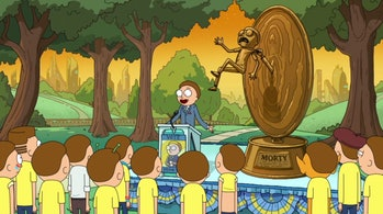Candidate Morty campaigns for his presidency.