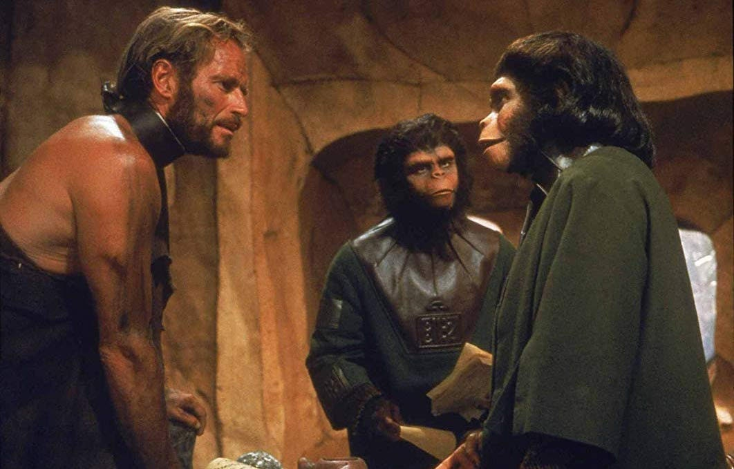 Charleton Heston in Planet of the Apes.