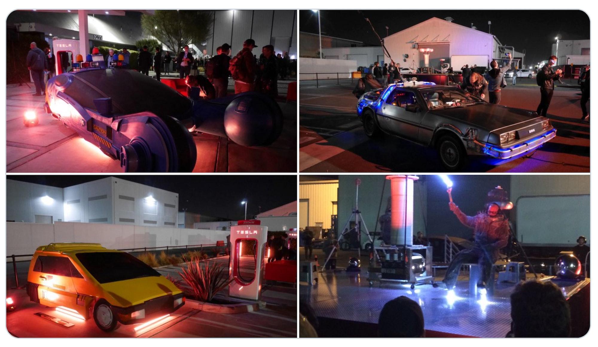 Sci-fi cars at Tesla Cyberpunk event