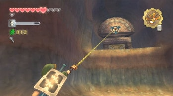 Link using the hookshot in 'The Legend of Zelda: Skyward Sword' (2011).