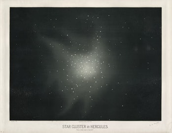 Star cluster Messier 13 in Hercules, 1877.