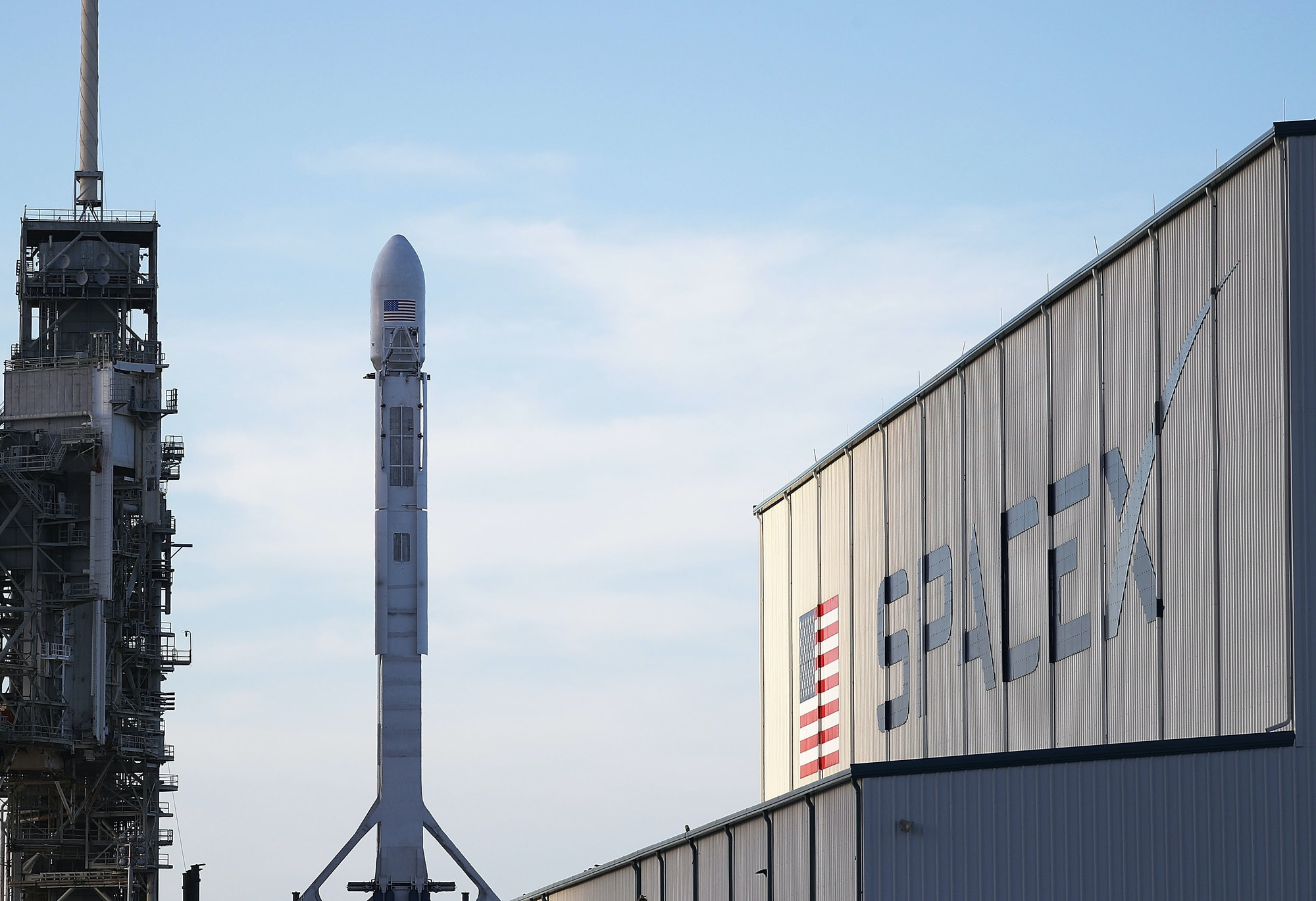 CAPE CANAVERAL, FL - APRIL 29: A SpaceX rocket sits on launch pad 39A as it is prepared for the NROL-76 launch on April 29,2017in Cape Canaveral, Florida. SpaceX will attempt to deliver a classified payload to orbit and liftoff is scheduled for tomorrow at 7 a.m. ET from Kennedy Space Center. (Photo by Joe Raedle/Getty Images)