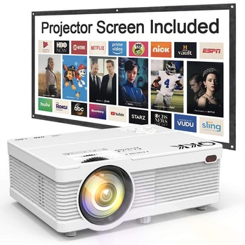 """QKK Portable LCD Projector 2800 Brightness [100"""" Projector Screen Included] Full HD 1080P Supported,..."""