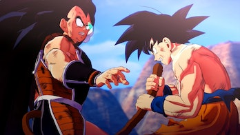 Goku Grabs Raditz's Tail Dragon Ball Kakarot