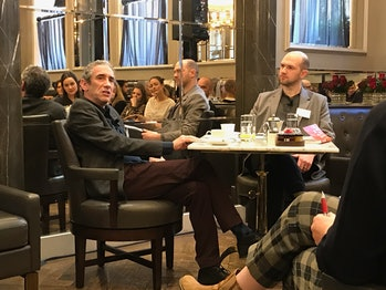 Rushkoff (left) at the London event.