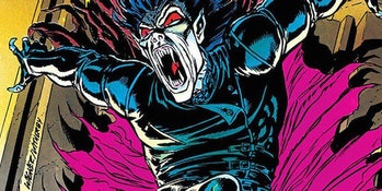 Morbius the Living Vampire with mouth open and cape open, seen in the comics