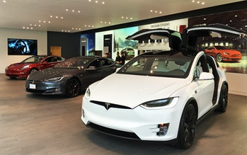 Complete linup of Tesla's electric cars exhibited at Tesla Store Washington D.C.