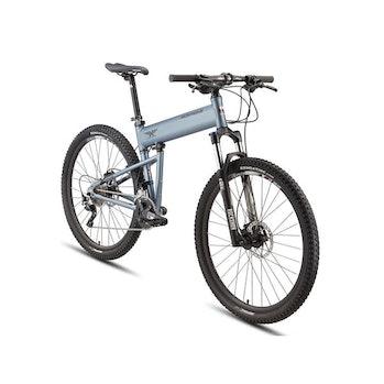 A silver mountain bike.