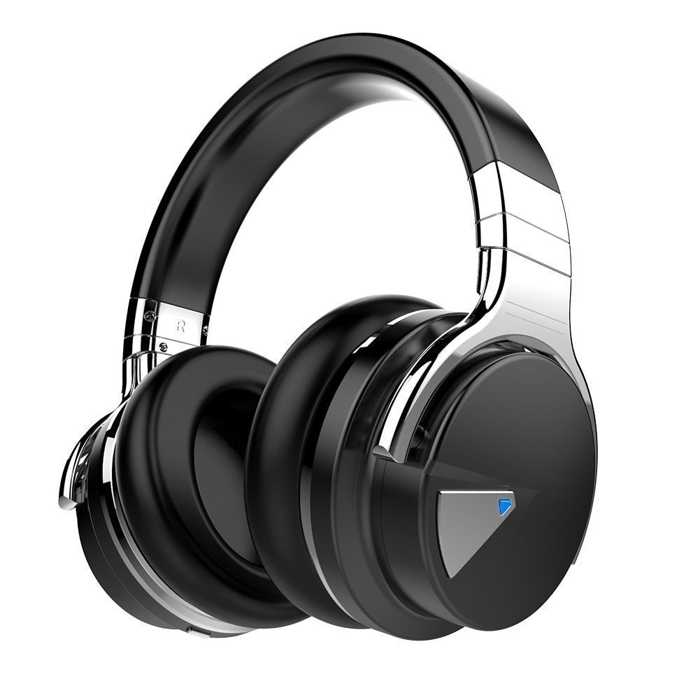 COWIN E7 Active Noise Cancelling Headphones Bluetooth Headphones with Microphone Deep Bass Wireless Headphones Over Ear, Comfortable Protein Earpads, 30 Hours Playtime for Travel/Work, Black