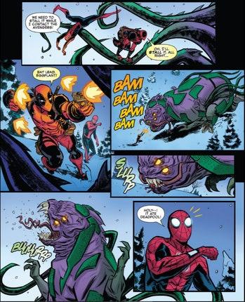 Deadpool is eaten by a Kaiju in Spider-Man/Deadpool MU 1