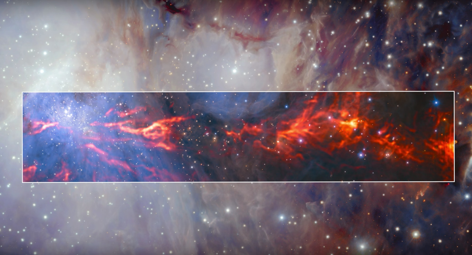 This spectacular and unusual image shows part of the famous Orion Nebula, a star formation region lying about 1350 light-years from Earth.