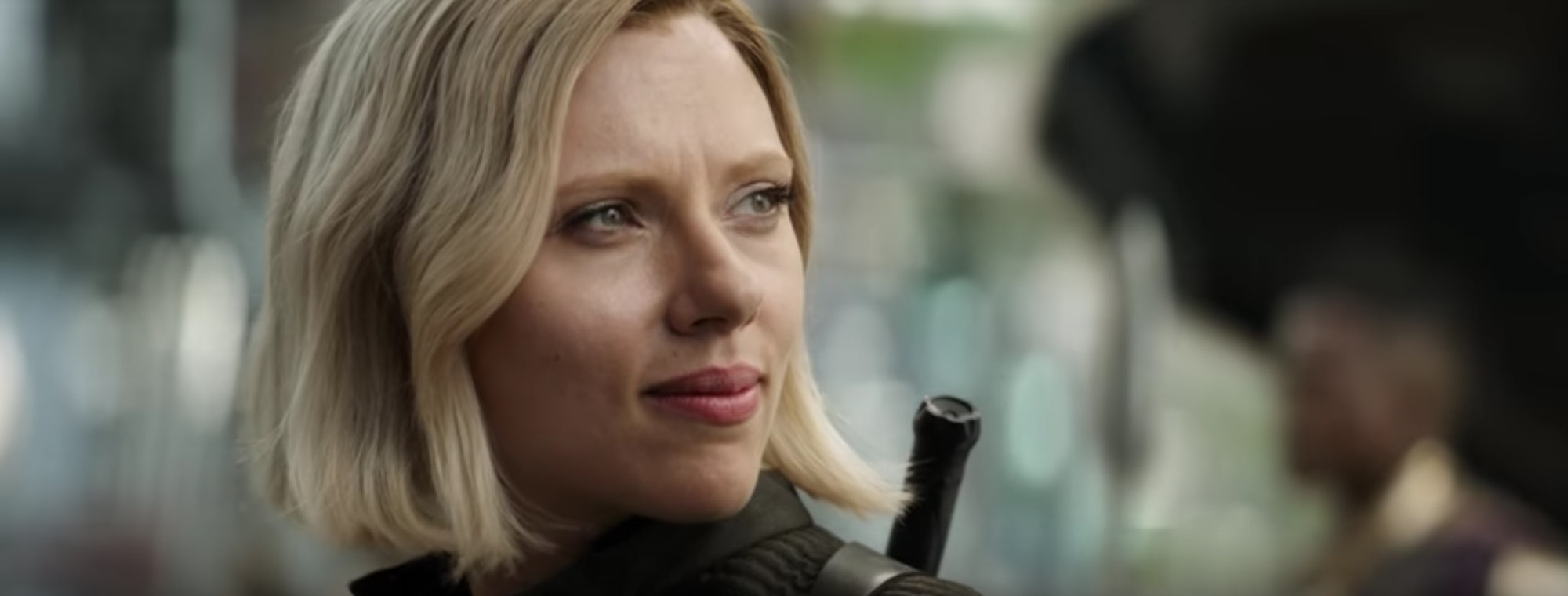Black Widow smiles sadly at Bruce Banner.
