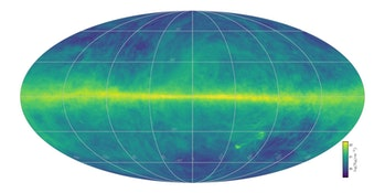 The image intensity reflects the total hydrogen content. The plane of the Milky Way runs horizontally across the middle of the image.