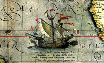 """Detail of Magellan's ship """"Victoria"""", led by an angel"""
